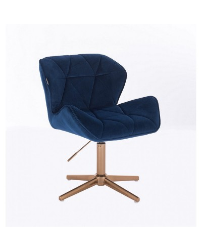 PETYR krzesło welurowe ciemne morze - złoty krzyżak