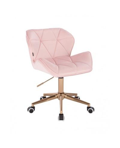 Krzesło skandynawskie PETYR pudrowy róż - kółka złote