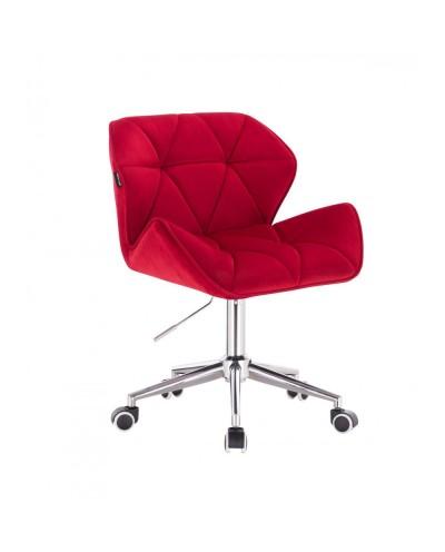 Krzesło tapicerowane PETYR czerwone - kółka chrom