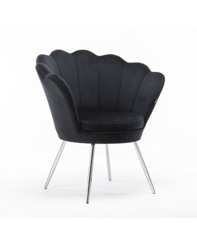 Fotel muszelka ARIA czarny welur - chromowane nogi