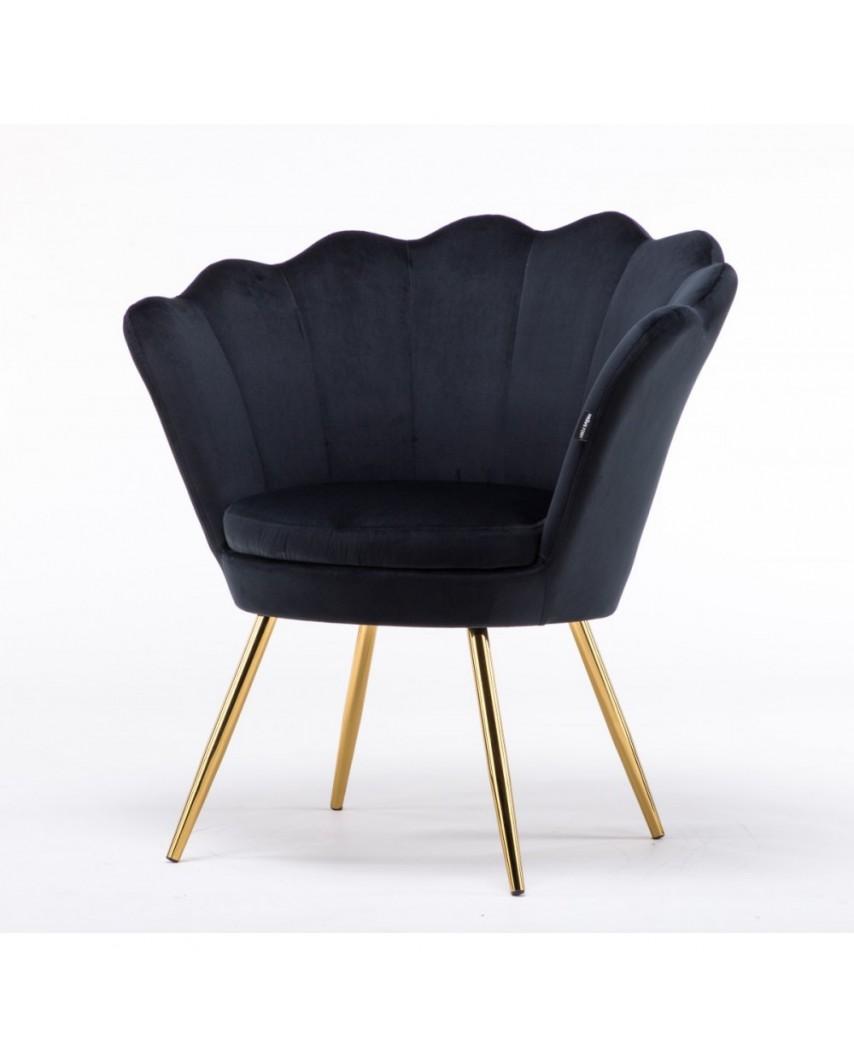 Fotel muszelka ARIA welur czarny - złote nogi