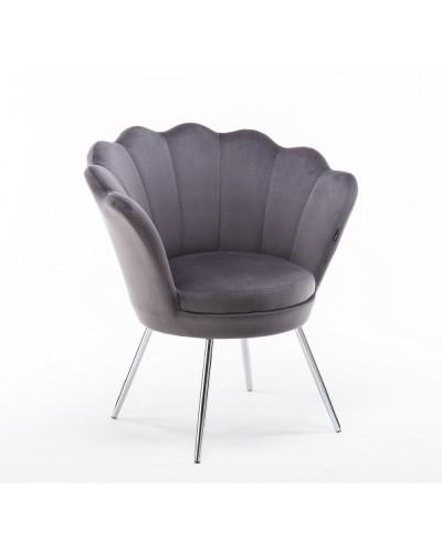 Fotel muszelka ARIA grafitowy welur - chromowane nogi