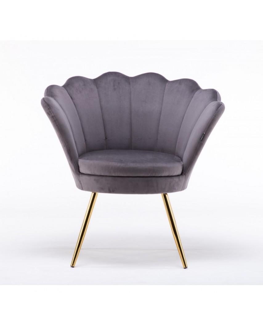 Fotel muszelka ARIA welur grafitowy - złote nogi