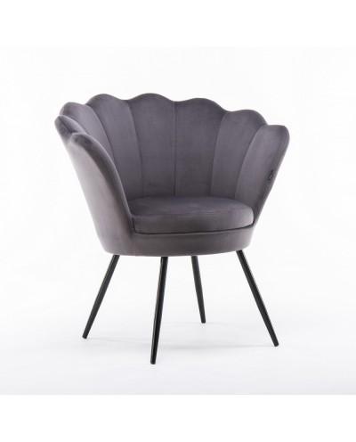 Fotel muszelka ARIA welurowy grafitowy - czarne nogi