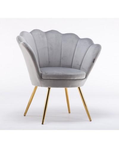 Fotel muszelka ARIA welur stalowy - złote nogi