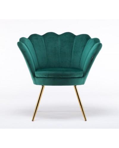 Fotel muszelka ARIA butelkowa zieleń - złote nogi