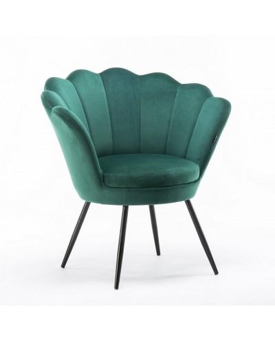Fotel wypoczynkowy ARIA muszelka butelkowa zieleń - czarne nogi