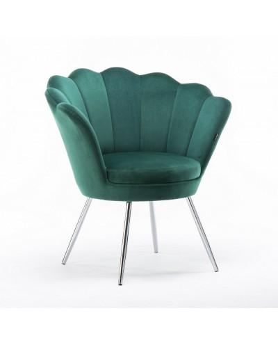 Fotel muszelka ARIA butelkowa zieleń welur - chromowane nogi