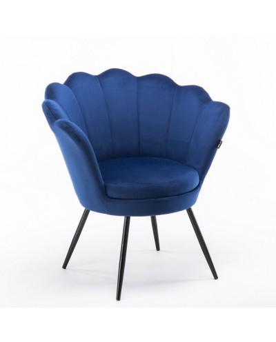 Fotel ARIA muszelka czarne metalowe nogi - welur ciemne morze