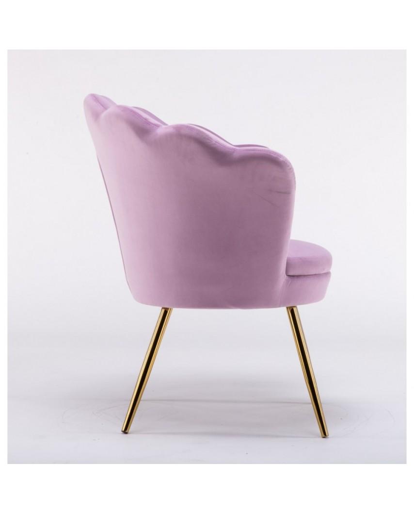 Fotel muszelka ARIA złote nogi - welur wrzosowy