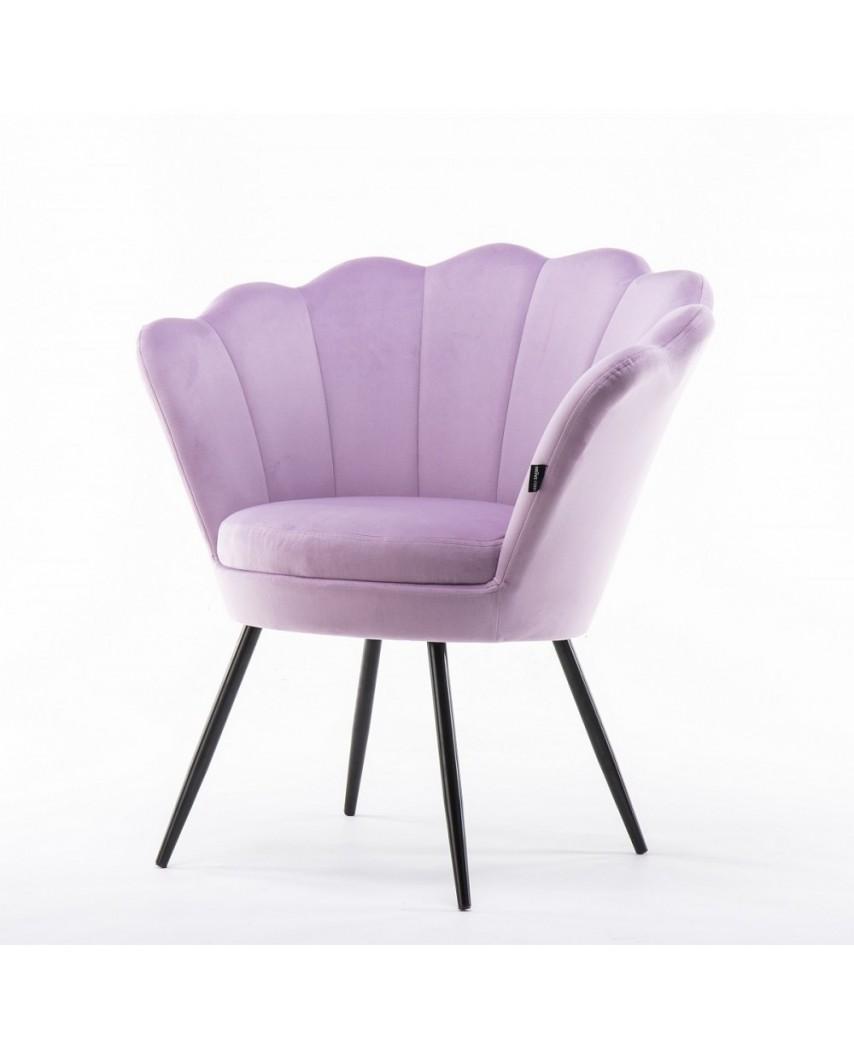 Fotel muszla ARIA czarne metalowe nogi - welur wrzosowy