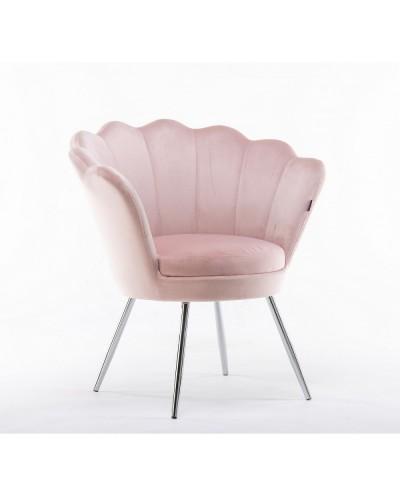 Fotel muszelka ARIA pudrowy róż - chromowane nogi