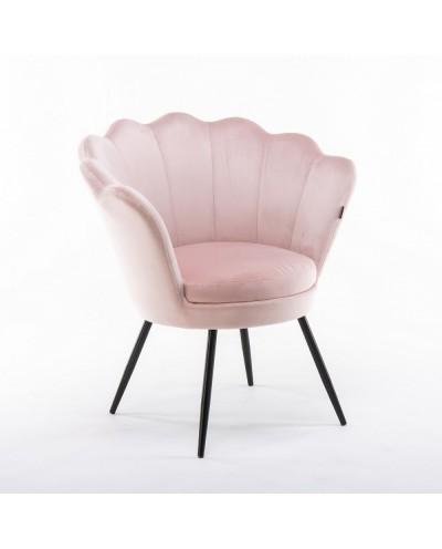 Fotel wypoczynkowy pudrowy róż ARIA muszelka - nogi czarne