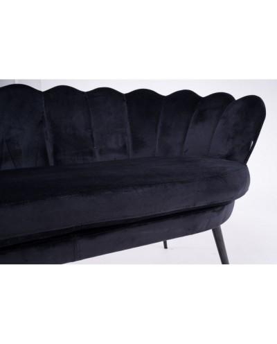Czarna sofa muszelka ARIA na czarnych metalowych nogach