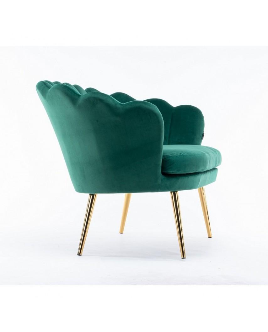 Sofa butelkowa zieleń ARIA na złotych nogach - muszelka welur