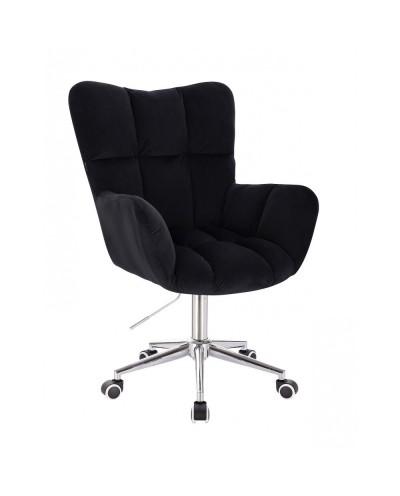Czarny fotel poduszka PEDRO do biurka - na kółkach chrom