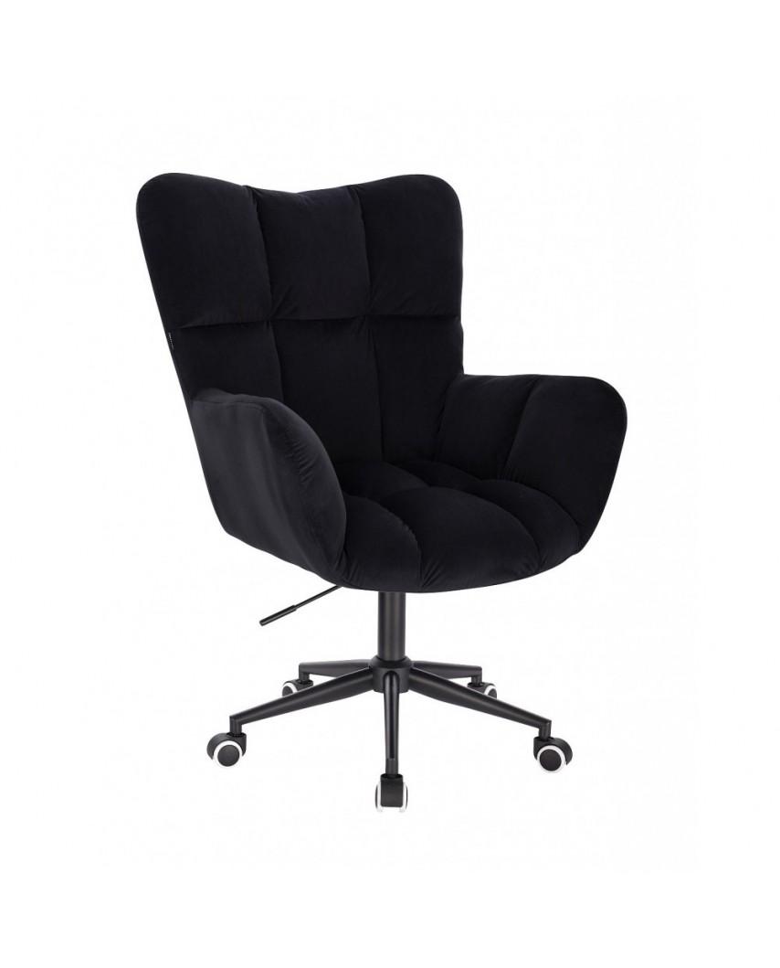 Czarny fotel poduszka PEDRO do biurka - kółka czarne
