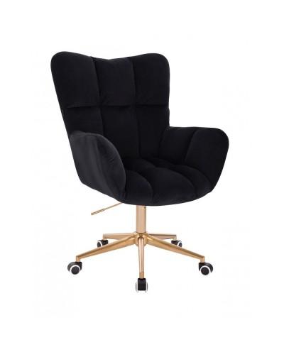 Czarny fotel poduszka PEDRO do biurka - złota podstawa kółka