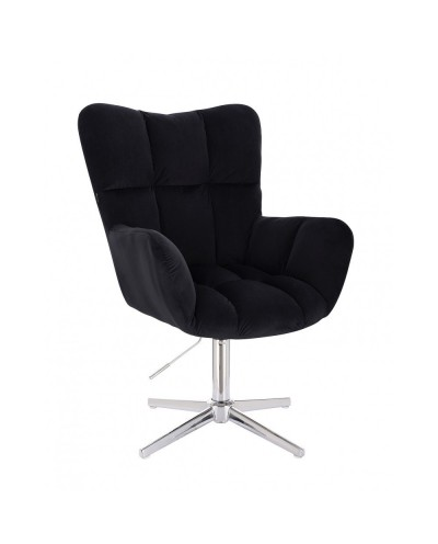 Czarny fotel poduszka PEDRO - krzyżak chromowany