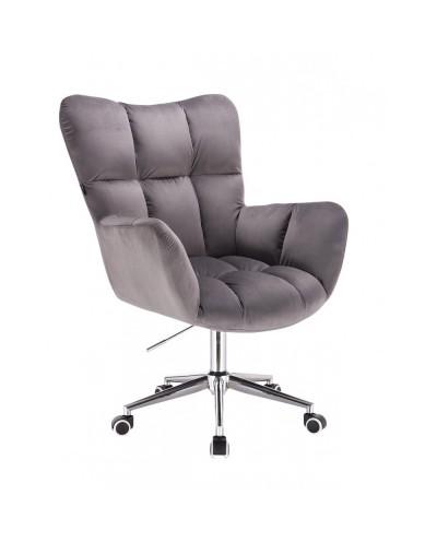 Fotel poduszka PEDRO do biurka na kółkach chrom - grafitowy