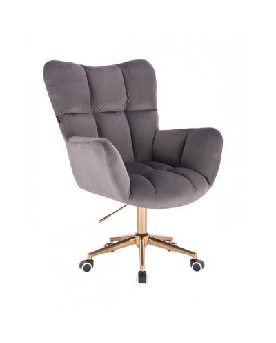 Grafitowy fotel poduszka PEDRO do biurka - złota podstawa kółka