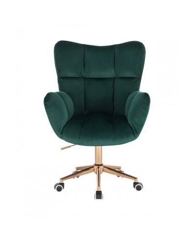 Fotel gabinetowy PEDRO butelkowa zieleń - złota podstawa kółka