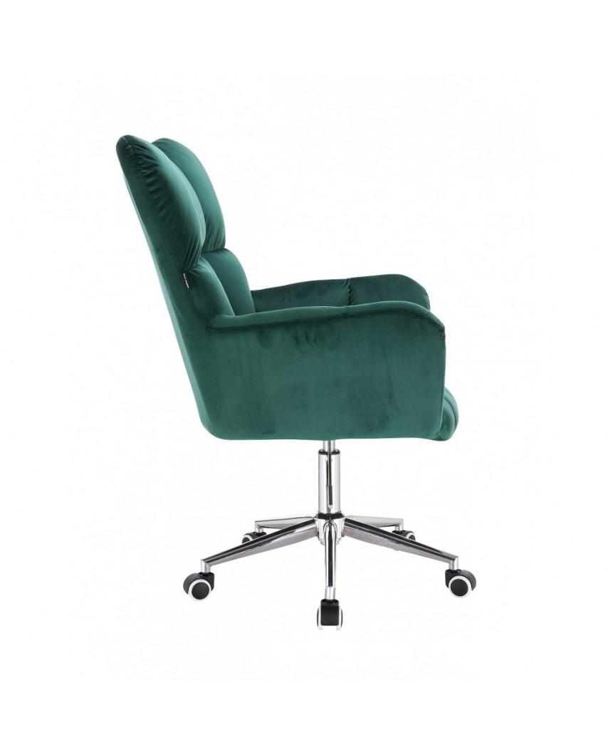 Fotel na kółkach PEDRO butelkowa zieleń - kółka chromowane