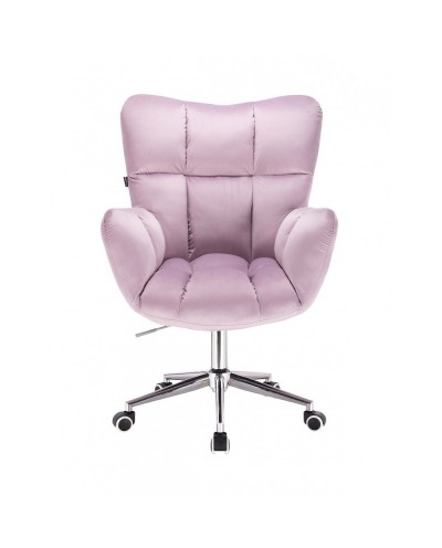 Fotel na kółkach PEDRO welur wrzosowy - kółka chromowane