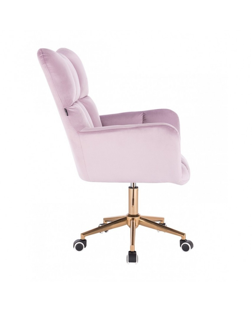 Fotel gabinetowy PEDRO złota podstawa kółka - welur wrzosowy