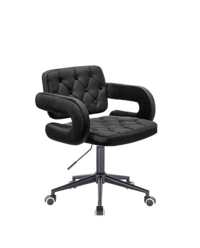 Krzesło czarny welur SURF - czarne kółka