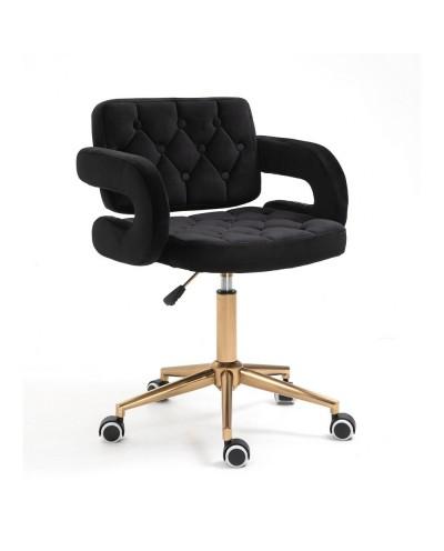 Czarne krzesło SURF z podłokietnikami - złote kółka