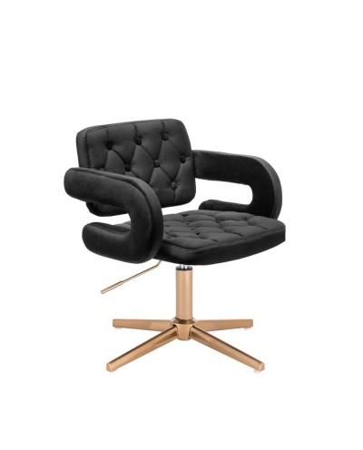 Krzesło do toaletki SURF czarne welurowe - złoty krzyżak