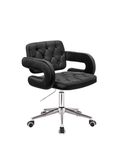 SURF Krzesło tapicerowane czarne na kółkach - chromowane