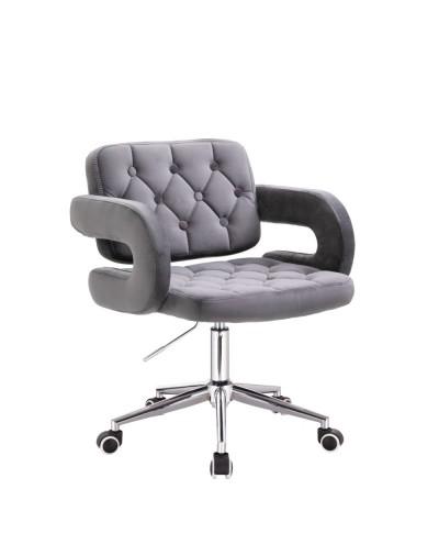 Krzesło tapicerowane SURF na kółkach chrom - grafitowy welur