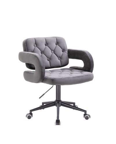 Krzesło pikowane z guzikami SURF grafitowy welur - czarne kółka