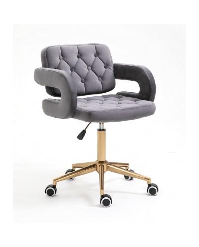 Krzesło z podłokietnikami SURF grafitowy welur - złote kółka
