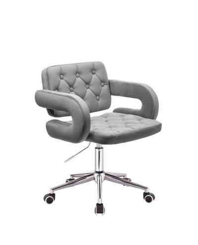 Krzesło tapicerowane SURF na kółkach chrom - stalowy welur