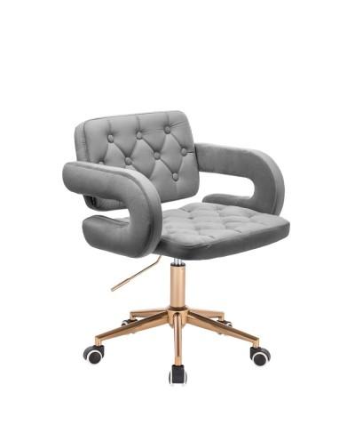 Krzesło z podłokietnikami SURF stalowy welur - złote kółka