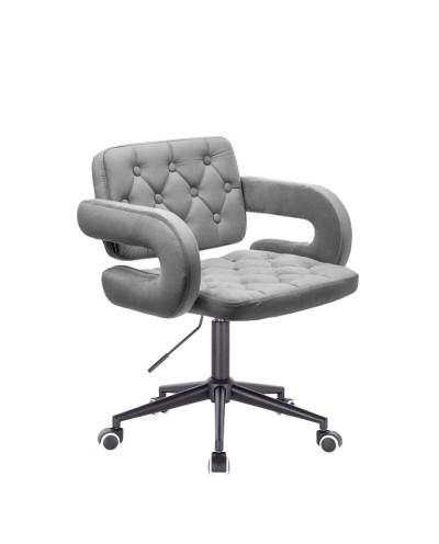 Krzesło pikowane z guzikami SURF welur stalowy - czarne kółka