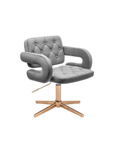 Krzesło do toaletki SURF welur stalowy - złoty krzyżak