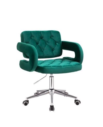 Krzesło tapicerowane SURF na kółkach chrom - butelkowa zieleń welur