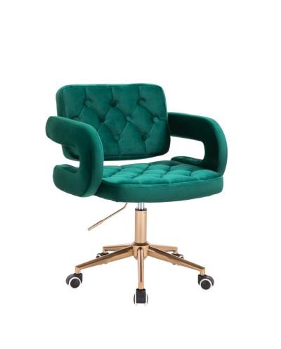 Krzesło z podłokietnikami SURF butelkowa zieleń welur - złote kółka