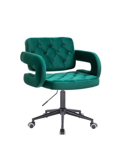 Krzesło pikowane z guzikami SURF welur butelkowa zieleń - czarne kółka