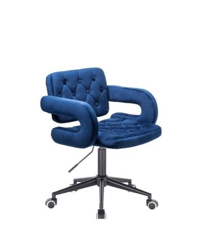 Krzesło pikowane z guzikami SURF welur ciemne morze - czarne kółka