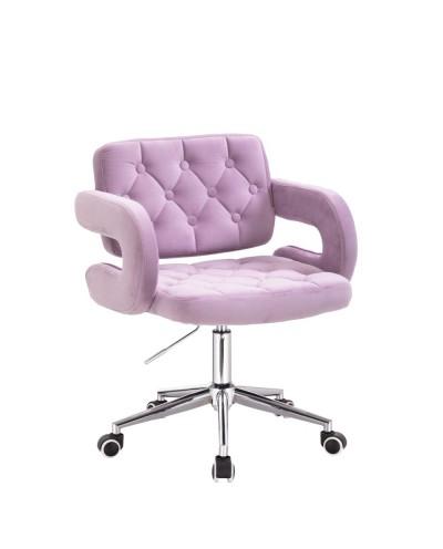 Krzesło tapicerowane SURF na kółkach chrom - wrzosowy welur