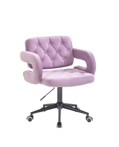 Krzesło SURF welur wrzosowy - czarne kółka