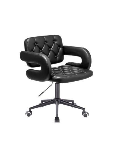 Czarne krzesło SURF ekoskóra - czarna podstawa kółka