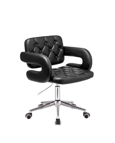 Czarne krzesło na kółkach SURF ekoskóra - kółka chromowane