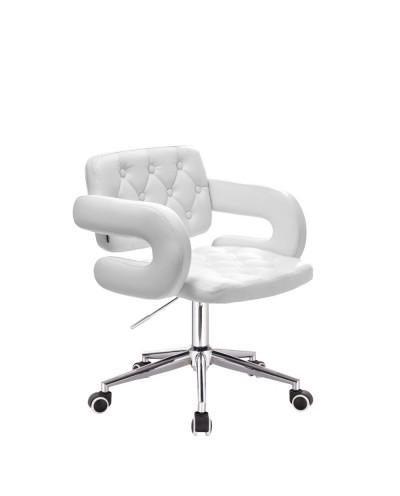 Białe krzesło na kółkach SURF ekoskóra - kółka chromowane