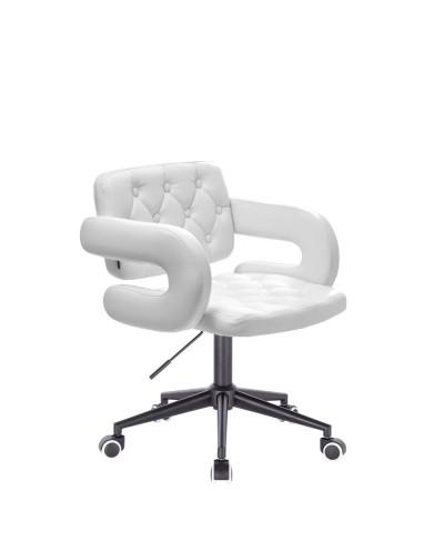 Białe krzesło SURF ekoskóra - czarna podstawa kółka